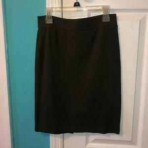Army green knee length tight skirt